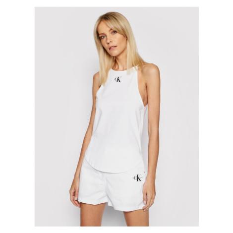 Calvin Klein Jeans Top Organic Cotton Logo Cami J20J215633 Biały Slim Fit