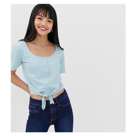 Brave Soul Petite tie front crop t shirt with button front