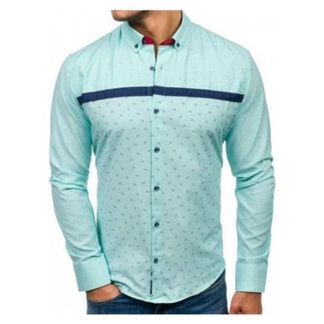 Koszula męska we wzory z długim rękawem miętowa Bolf 6903