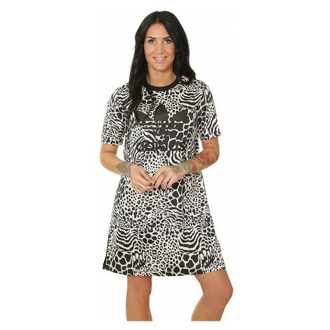 sukienka adidas Originals Tee Aop - Ecru Tint/Black