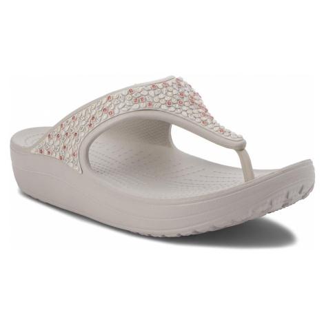 Japonki CROCS - Sloane Embellished Flip 204181 Pearl White