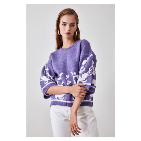 Trendyol Purple Flower Patterned Knitwear Sweater