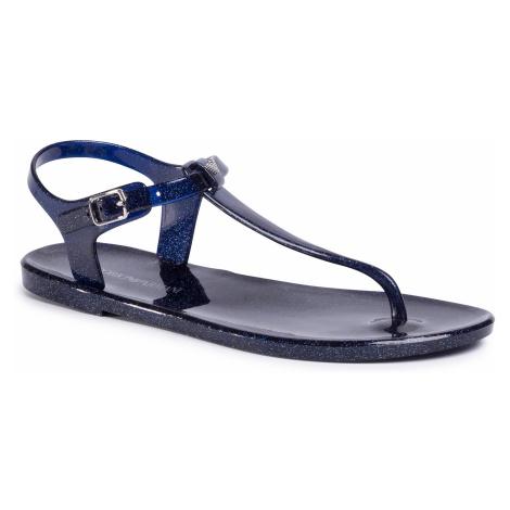 Sandały EMPORIO ARMANI - X3QS06 XL816 M605 Blue/Glitter Silver