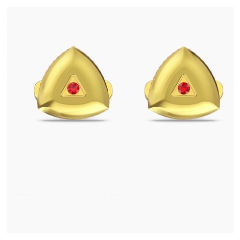 Spinki do mankietów Theo Fire, czerwone, w odcieniu złota Swarovski