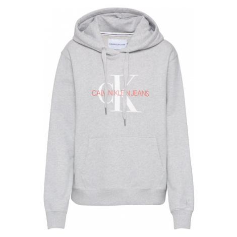 Calvin Klein Jeans Bluzka sportowa 'MONOGRAM ' nakrapiany szary / biały / czerwony
