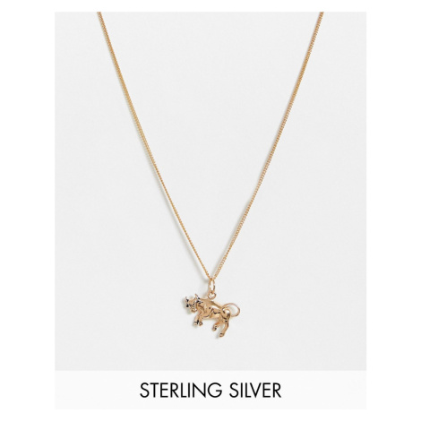 ASOS DESIGN sterling silver neckchain with raging bull pendant in 14k gold plate