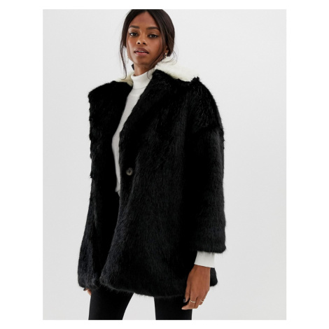 Helene Berman coat with contrast faux fur collar
