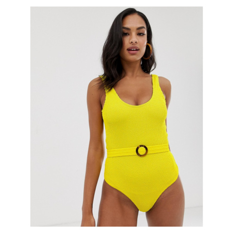 Y.A.S textured belted highleg swimsuit yellow