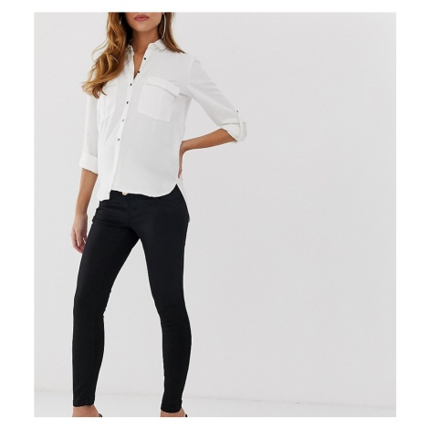 ASOS DESIGN Maternity Ridley high waisted skinny jeans in clean black with over the bump waistba