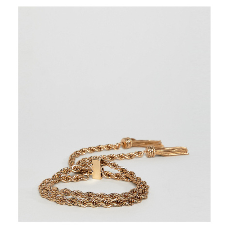 ASOS DESIGN Curve bracelet with rope chain and toggle design in gold