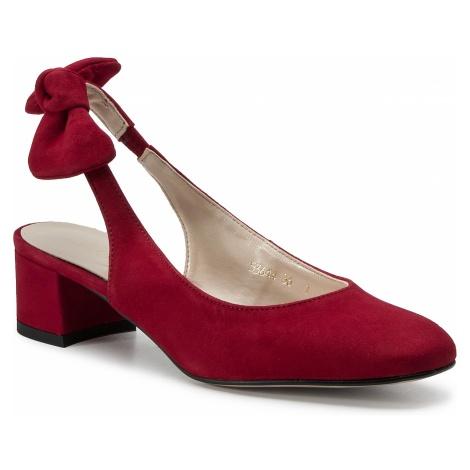 Sandały SAGAN - 3644 Czerwony Welur