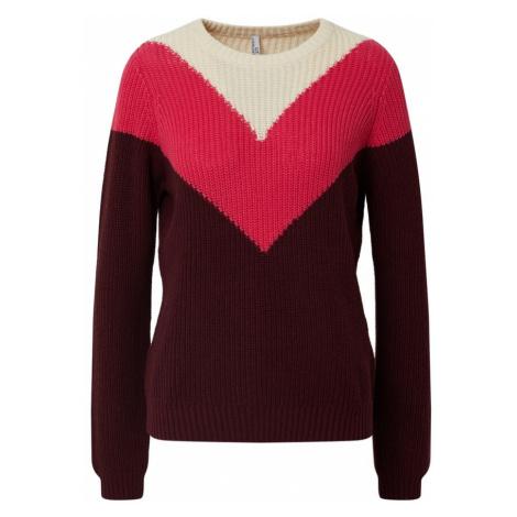 Sublevel Sweter biały / różowy / czerwony