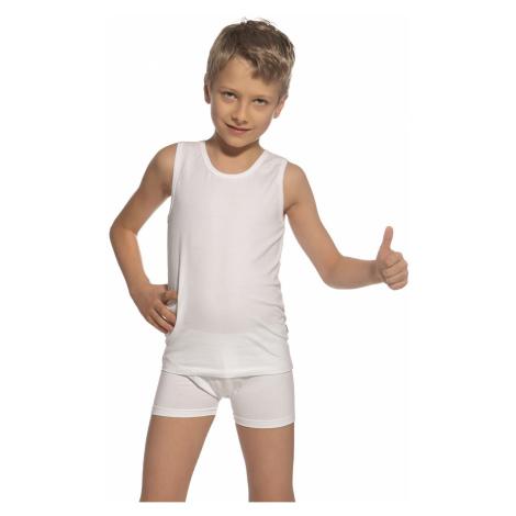 Komplet chłopięcy: biała podkoszulka i bokserki Cornette