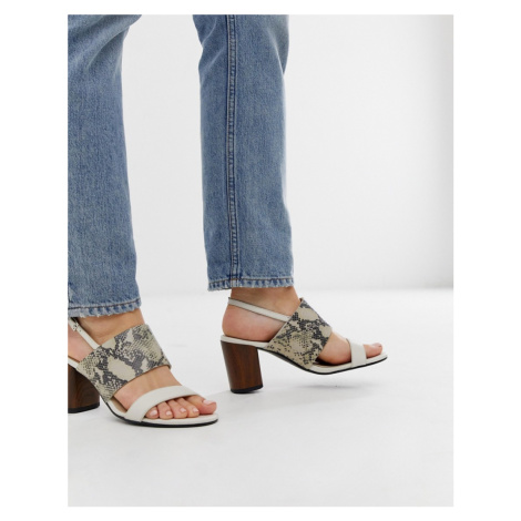 Vagabond carol white leather snake effect heeled sandals