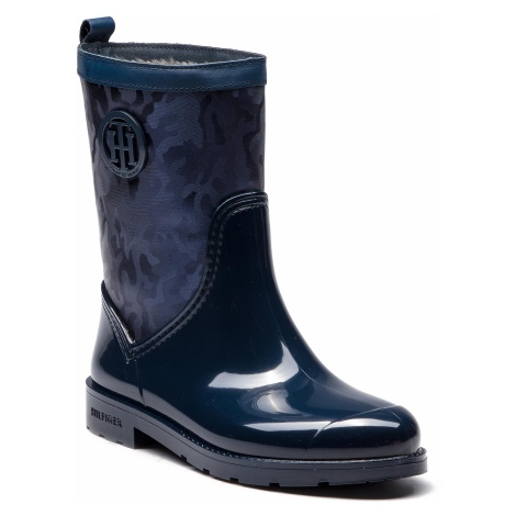 Kalosze TOMMY HILFIGER - Shiny Camo Rain Boot FW0FW03318 Tommy Navy 406