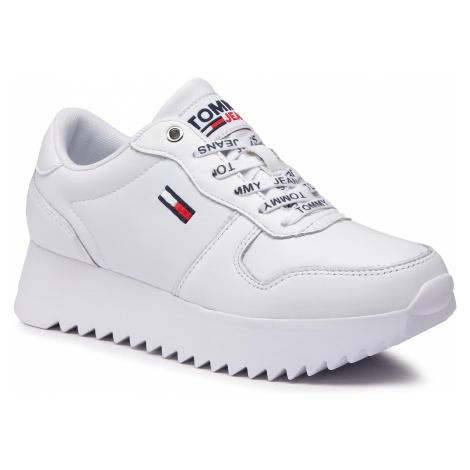 Sneakersy TOMMY JEANS - High Cleated Leather Sneaker EN0EN01120 White YBR Tommy Hilfiger