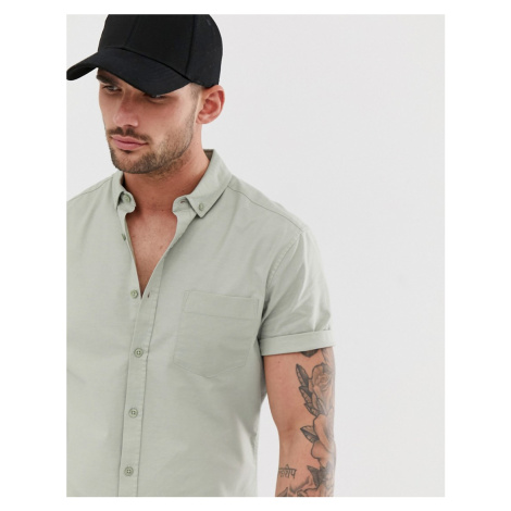 ASOS DESIGN casual slim oxford shirt in light green