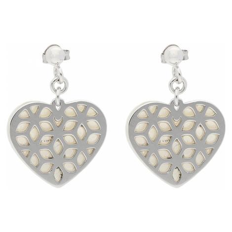 Kolczyki FOSSIL - Heart Cut Out JFS00489040 Sterling Silver