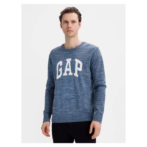 GAP niebieski sweter męski Logo intarsia crew