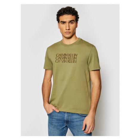 Calvin Klein T-Shirt Triple Center Logo K10K107158 Zielony Regular Fit