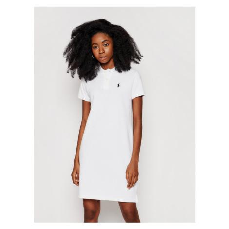 Polo Ralph Lauren Sukienka codzienna Polo Shirt Shop 211799490017 Biały Regular Fit