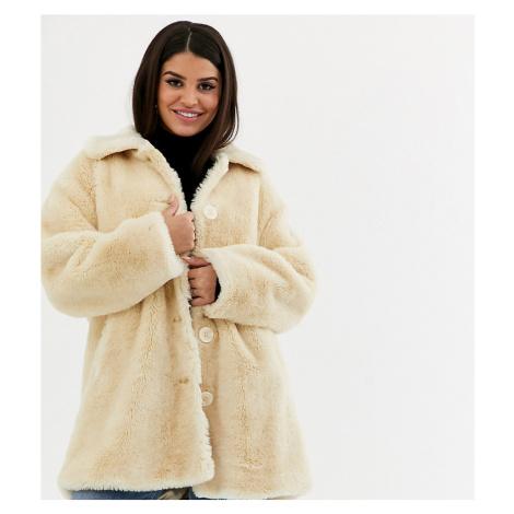 ASOS DESIGN Petite faux fur button through coat in cream