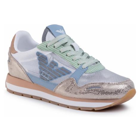 Sneakersy EMPORIO ARMANI - X3X058 XM263 R727 Lt Gold/White/Lt Blue