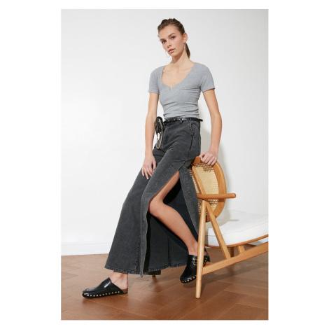 Trendyol wysoka talia szerokie nogawki dżinsy z antracytem sliver