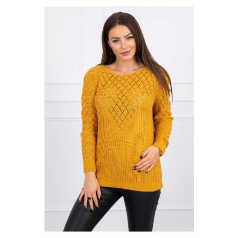 Ażurowy sweter musztarda