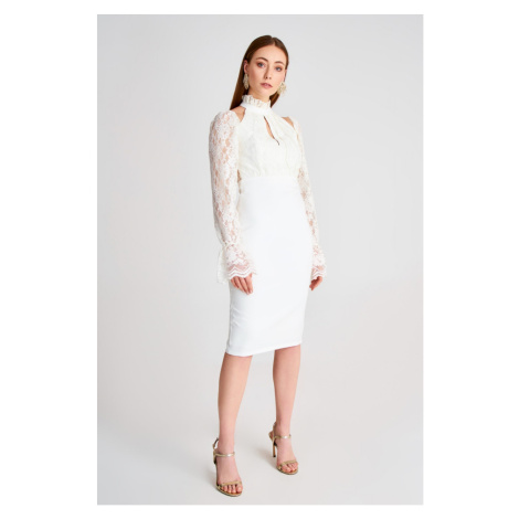 Trendyol Ecru Lace Detail Dress