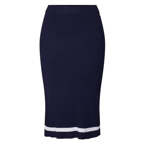 TOM TAILOR DENIM Spódnica 'knitted tube skirt' kremowy / ciemny niebieski