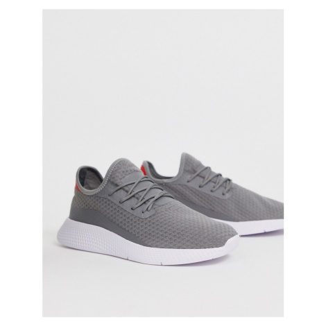 Pull&Bear mesh trainer with contrast sole in grey Pull & Bear