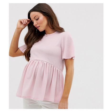 New Look Maternity peplum tee in Pink