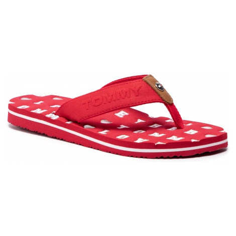 Japonki TOMMY HILFIGER - Flat Beach Sandal Embossed FW0FW03889 Tango Red 611