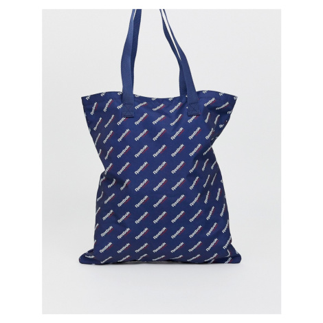 Reebok logo tote bag in navy
