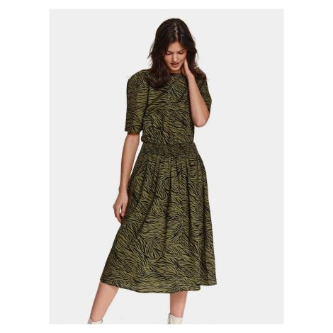 TOP SECRET zielona midi sukienka ze wzorami