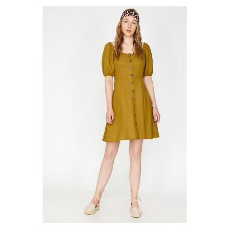 Koton Women's Green Button Detailed Dress