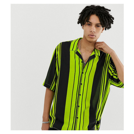 COLLUSION oversized stripe revere shirt