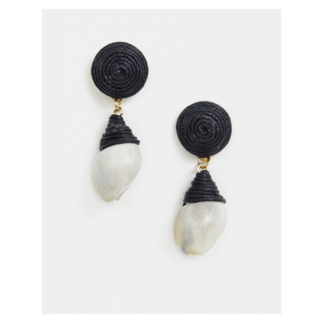 ASOS DESIGN earrings with thread wrapped faux shell drop