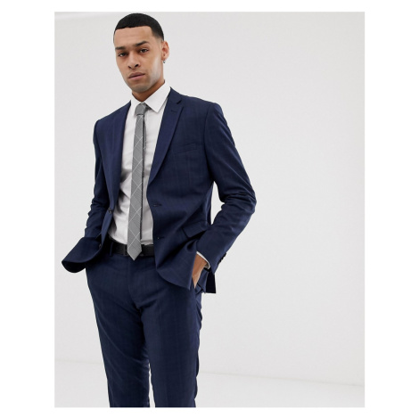 Esprit slim fit suit jacket in navy tonal glenn check