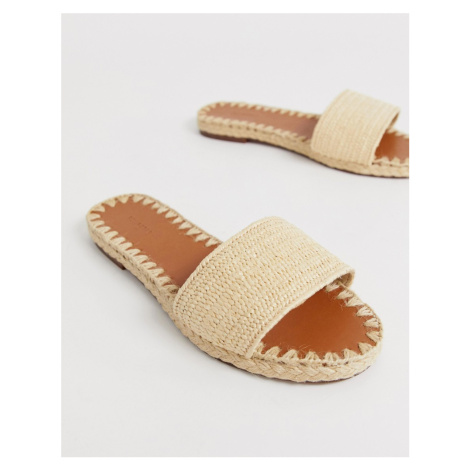 Pull&Bear slip on sandals in rafia Pull & Bear