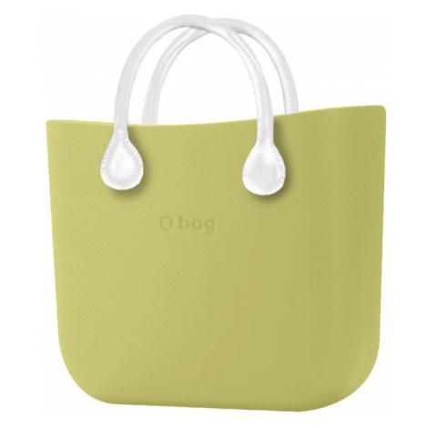 O bag torebka MINI Celery Green z krótkimi białymi uchwytami ze skajki