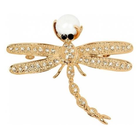 JwL Luxury Pearls Piękna złota broszka Dragonfly 2v1 z prawym perłą JL0384