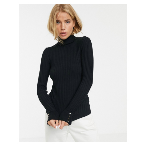New Look roll neck jumper with studded cuff detail in black