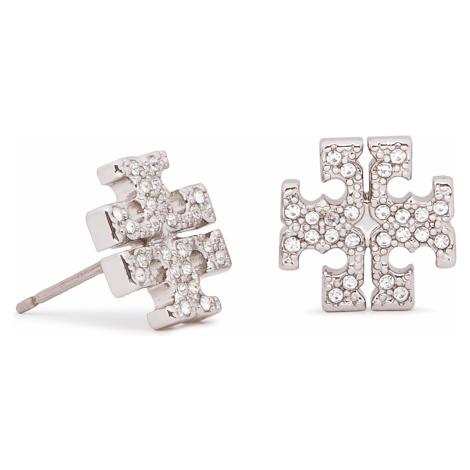Kolczyki TORY BURCH - Crystal Logo Stud Earring 53423 Tory Silver/Crystal 042