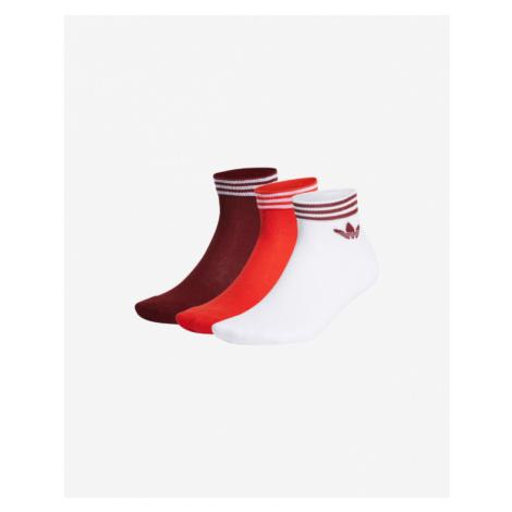 adidas Originals Trefoil Ankle 3-pack Skarpetki Czerwony Biały