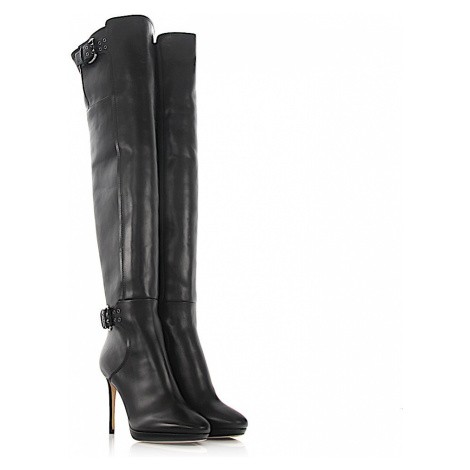 Jimmy Choo   Overknees calfskin Decorative buckle black