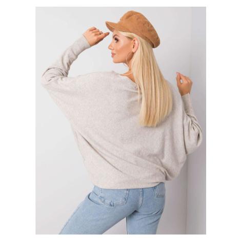 SUBLEVEL Lekki beżowy sweter melanżowy oversize