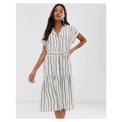 River Island shirt dress with belt in chain print
