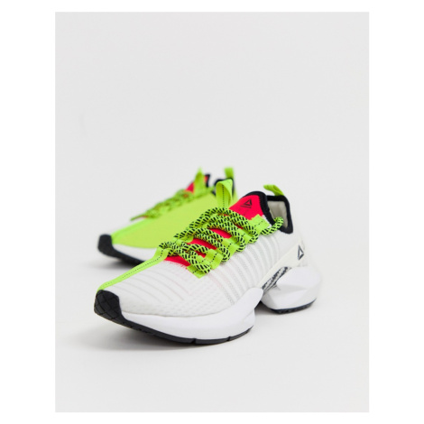 Reebok Running sole fury trainers in white and green
